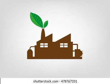 Leaves sprout from a factory icon chimney concept. Editable Clip Art.