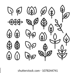 Leaves thin line icon set vector