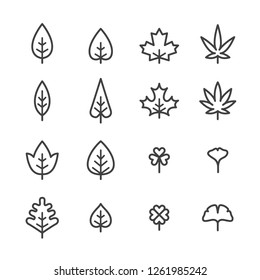 Leaves Vector Icons Set, Flat Thin Line Style. Leaf Outline in Different Shapes.