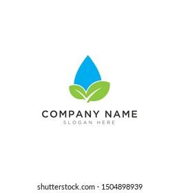 Leaves and water drops abstract Logo Template Design Vector, Emblem, Design Concept, Creative Symbol, Icon