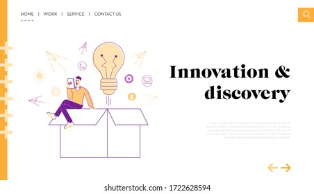 Leaving of Mind Limits, Dreaming, Start Up Landing Page Template. Tiny Male Character with Tablet Sit on Huge Box with Light Bulb and Paper Airplanes Flying Out of Package. Linear Vector Illustration