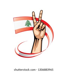 Lebanese flag and hand on white background. Vector illustration