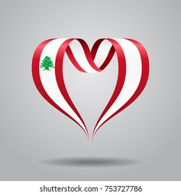 Lebanese flag heart-shaped wavy ribbon. Vector illustration.