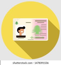 Lebanese ID flat icon with long shadow - Vector