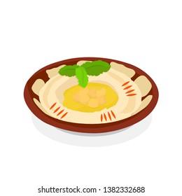 Lebanese Mediterranean Hummus Plate Illustration