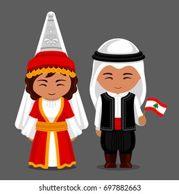 Lebanese in national dress with a flag. Man and woman in traditional costume. Travel to Lebanon. People. Vector flat illustration.