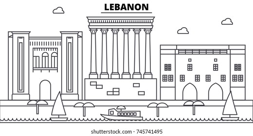 Lebanon architecture skyline buildings, silhouette, outline landscape, landmarks. Editable strokes. Urban skyline illustration. Flat design vector, line concept
