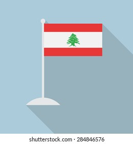 Lebanon flag with flagpole flat icon with long shadow. Vector illustration EPS10