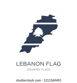 Lebanon flag icon. Trendy flat vector Lebanon flag icon on white background from Country Flags collection, vector illustration can be use for web and mobile, eps10