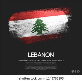 Lebanon Flag Made of Glitter Sparkle Brush Paint Vector