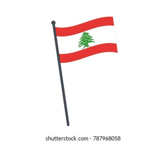 Lebanon flag. The national flag of Lebanon on a pole. The waving flag. The sign and symbol of the country. Realistic vector on white.