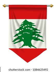 Lebanon flag or pennant isolated on white