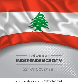 Lebanon happy independence day greeting card, banner vector illustration. Lebanese national holiday 22nd of November square design element with waving flag