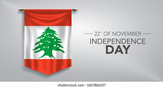 Lebanon independence day greeting card, banner, vector illustration. Lebanese national day 22nd of November background with pennant