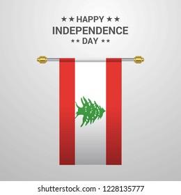 Lebanon Independence day hanging flag background