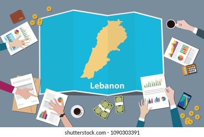 lebanon lebanese republic country growth nation team discuss with fold maps view from top vector illustration