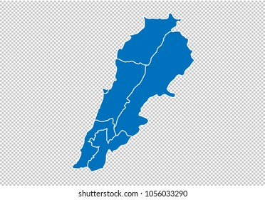 lebanon map - High detailed blue map  with counties/regions/states of lebanon. nepal map isolated on transparent background.