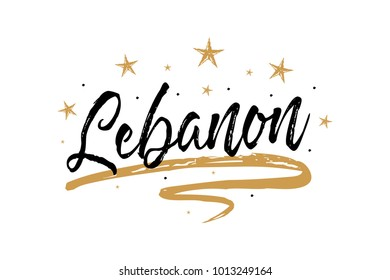 Lebanon. Name country word text card, banner script. Beautiful typography inscription greeting calligraphy poster black, gold ribbon, star. Handwritten design modern brush lettering isolated vector.