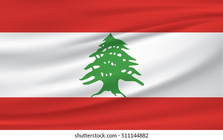 Lebanon national flag background texture.
