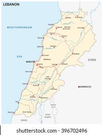 Lebanon Political Map Capital Beirut National Stock Photo Photo