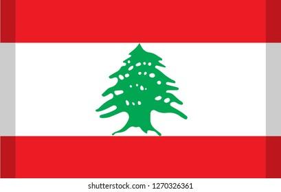 Lebanon simple isolated vector flag with shadow