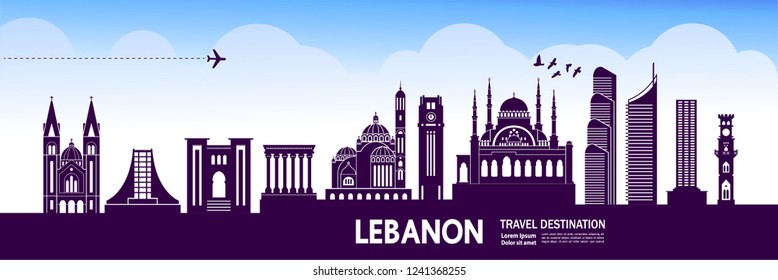 Lebanon Travel destination vector.