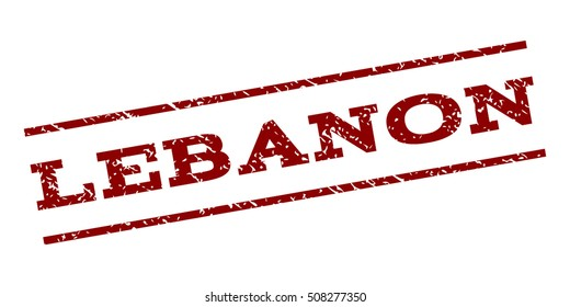 Lebanon watermark stamp. Text caption between parallel lines with grunge design style. Rubber seal stamp with scratched texture. Vector dark red color ink imprint on a white background.
