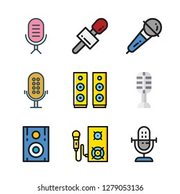 lecture icon set. vector set about microphone and speaker icons set.
