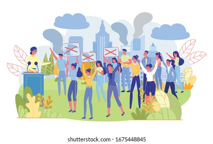 Lecture or Public Rally in City Park. Protest Meeting or Demonstration. Diverse People Protesting Crowd with Big Placards in Hands. Woman Speaking in Microphone Stand at Tribune. Vector Illustration