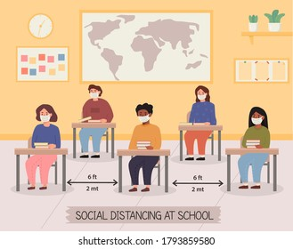 Lecture room in school after pandemic. Classroom with children maintaining safe distance. Kids wearing face mask. New normal at public places. Social distancing. Class interior. Vector illustration.