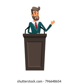 The lecturer stands behind the rostrum. The speaker lectures and gestures. A young politician speaks to the public.