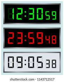 Led alarm display. Digital colored o'clock. Digital clocks vector illustration