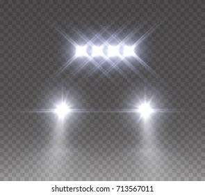 Led bar offroad effect front view. Realistic white glow rally car headlights isolated on transparent background. Vector bright car light beams for race design.