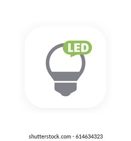 led bulb icon, vector pictogram