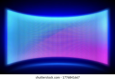 Led concave wall video screen with glowing blue and purple dot lights on black background. Vector illustration of grid pattern for led display on stadium or scene. Digital panel with mesh diode lamps