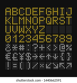 LED Digital Font on Black Background for Airport Board. Vector