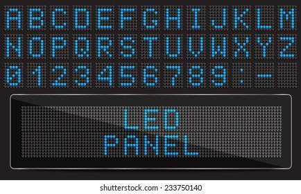 LED digital font on black background, vector illustration