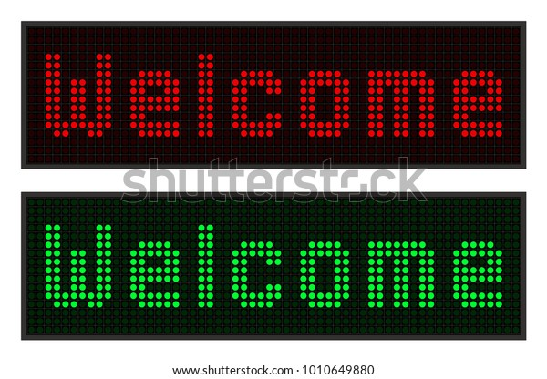 Led Display Welcome Text Digital Font Stock Vector (Royalty