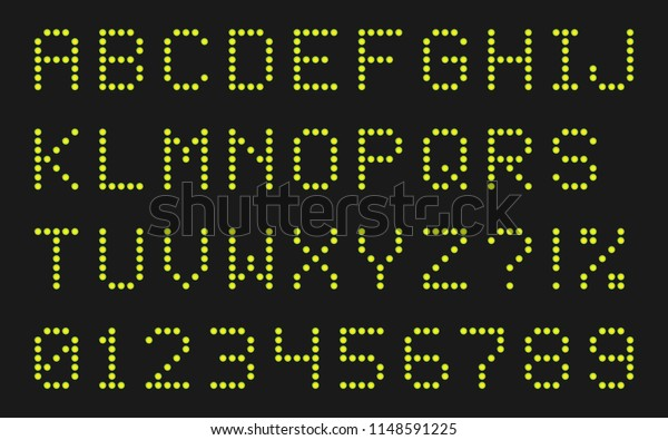 LED Dot-Matrix Display Font - Letters and Numbers