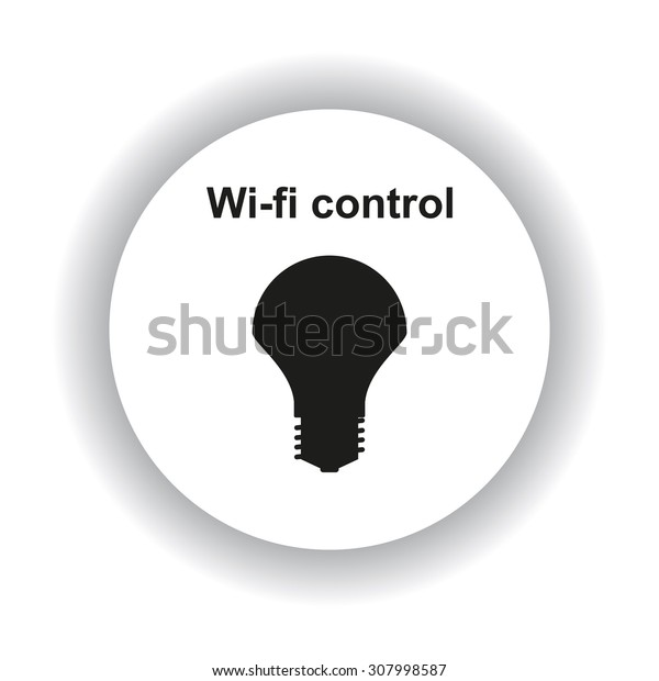 LED lamp controlled via wi-fi network. icon. vector design