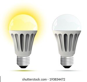 LED lamp. glowing and turned off. Vector illustration