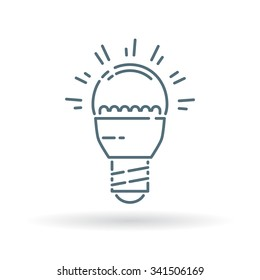 LED light bulb icon. Efficient low energy light sign. Thin line symbol on white background. Vector illustration.