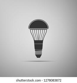 LED light bulb icon isolated on grey background. Economical LED illuminated lightbulb. Save energy lamp. Flat design. Vector Illustration