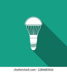 LED light bulb icon isolated with long shadow. Economical LED illuminated lightbulb. Save energy lamp. Flat design. Vector Illustration