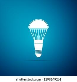 LED light bulb icon isolated on blue background. Economical LED illuminated lightbulb. Save energy lamp. Flat design. Vector Illustration