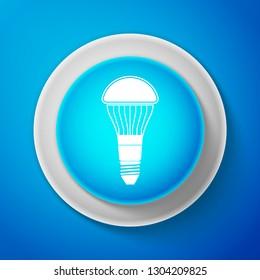LED light bulb icon isolated on blue background. Economical LED illuminated lightbulb. Save energy lamp. Circle blue button. Vector illustration