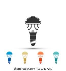 LED light bulb icon isolated on white background. Economical LED illuminated lightbulb. Save energy lamp. Set elements in color icons. Vector Illustration