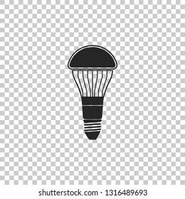 LED light bulb icon isolated on transparent background. Economical LED illuminated lightbulb. Save energy lamp. Flat design. Vector Illustration