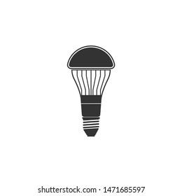 LED light bulb icon isolated. Economical LED illuminated lightbulb. Save energy lamp. Flat design. Vector Illustration