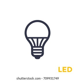 led light bulb icon on white